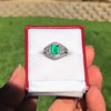 1.29ctw Emerald and Diamond Modified Halo Ring 22
