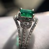 1.29ctw Emerald and Diamond Modified Halo Ring 8