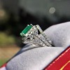 1.29ctw Emerald and Diamond Modified Halo Ring 2