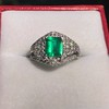 1.29ctw Emerald and Diamond Modified Halo Ring 18