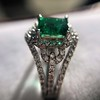 1.29ctw Emerald and Diamond Modified Halo Ring 9