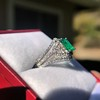 1.29ctw Emerald and Diamond Modified Halo Ring 6