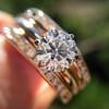 1.31tcw Round Brilliant Diamond Wedding Set, Est to be H, SI2      1