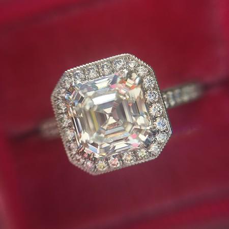 1.38ct Asscher Cut Diamond Halo Ring, GIA K VVS1, by Steven Kirsch