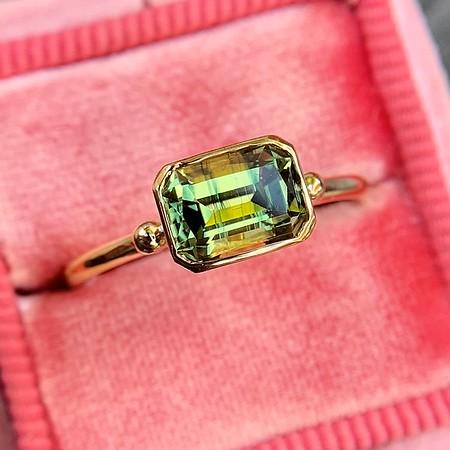 1.40ct Parti-Color Sapphire Bezel Ring