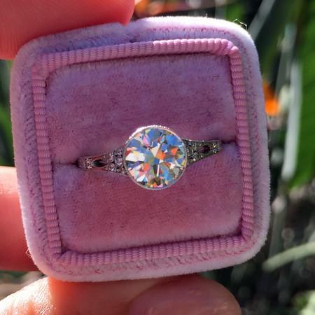 1.47ct Old European Cut Diamond Bezel Ring by Single Stone