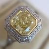 1.63ct Fancy Intense Yellow Radiant Diamond Halo Ring 24