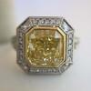 1.63ct Fancy Intense Yellow Radiant Diamond Halo Ring 19