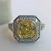 1.63ct Fancy Intense Yellow Radiant Diamond Halo Ring 15