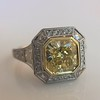 1.63ct Fancy Intense Yellow Radiant Diamond Halo Ring 16