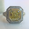 1.63ct Fancy Intense Yellow Radiant Diamond Halo Ring 17