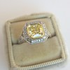 1.63ct Fancy Intense Yellow Radiant Diamond Halo Ring 13