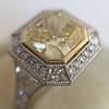 1.63ct Fancy Intense Yellow Radiant Diamond Halo Ring 9