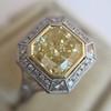 1.63ct Fancy Intense Yellow Radiant Diamond Halo Ring 2