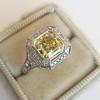 1.63ct Fancy Intense Yellow Radiant Diamond Halo Ring 12