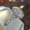1.63ct Fancy Intense Yellow Radiant Diamond Halo Ring 27
