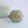 1.63ct Fancy Intense Yellow Radiant Diamond Halo Ring 18