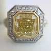 1.63ct Fancy Intense Yellow Radiant Diamond Halo Ring 0