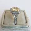1.63ct Fancy Intense Yellow Radiant Diamond Halo Ring 4