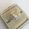 1.63ct Fancy Intense Yellow Radiant Diamond Halo Ring 11