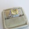 1.63ct Fancy Intense Yellow Radiant Diamond Halo Ring 23