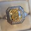 1.63ct Fancy Intense Yellow Radiant Diamond Halo Ring 3
