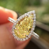 2.01ct Fancy Yellow Pear Diamond Halo Ring by DBL GIA SI1 14