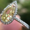 2.01ct Fancy Yellow Pear Diamond Halo Ring by DBL GIA SI1 7