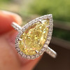 2.01ct Fancy Yellow Pear Diamond Halo Ring by DBL GIA Fancy Yellow SI1 5