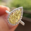 2.01ct Fancy Yellow Pear Diamond Halo Ring by DBL GIA Fancy Yellow SI1 15