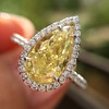 2.01ct Fancy Yellow Pear Diamond Halo Ring by DBL GIA Fancy Yellow SI1 6