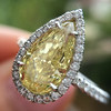 2.01ct Fancy Yellow Pear Diamond Halo Ring by DBL GIA SI1 10