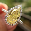 2.01ct Fancy Yellow Pear Diamond Halo Ring by DBL GIA Fancy Yellow SI1 11