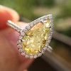 2.01ct Fancy Yellow Pear Diamond Halo Ring by DBL GIA Fancy Yellow SI1 13