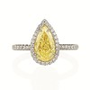 2.01ct Fancy Yellow Pear Diamond Halo Ring by DBL GIA SI1 0