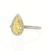 2.01ct Fancy Yellow Pear Diamond Halo Ring by DBL GIA SI1 1