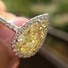 2.01ct Fancy Yellow Pear Diamond Halo Ring by DBL GIA SI1 12