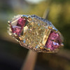 2.18ct Radiant Cut Diamond and Pink sapphire 3-Stone Ring by DBL GIA W-X, VS2 6