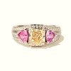 2.18ct Radiant Cut Diamond and Pink sapphire 3-Stone Ring by DBL GIA W-X, VS2 0