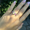 2.18ct Radiant Cut Diamond and Pink sapphire 3-Stone Ring by DBL GIA W-X, VS2 19