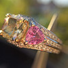 2.18ct Radiant Cut Diamond and Pink sapphire 3-Stone Ring by DBL GIA W-X, VS2 8