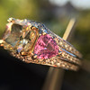 2.18ct Radiant Cut Diamond and Pink sapphire 3-Stone Ring by DBL GIA W-X, VS2 9
