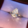 2.25ctw Vintage Pear Diamond Ring with French Cut Diamond Sidestones GIA H SI1 34