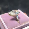 2.25ctw Vintage Pear Diamond Ring with French Cut Diamond Sidestones GIA H SI1 9