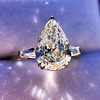 2.25ctw Vintage Pear Diamond Ring with French Cut Diamond Sidestones GIA H SI1 32