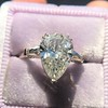 2.25ctw Vintage Pear Diamond Ring with French Cut Diamond Sidestones GIA H SI1 10