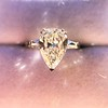 2.25ctw Vintage Pear Diamond Ring with French Cut Diamond Sidestones GIA H SI1 29
