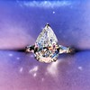 2.25ctw Vintage Pear Diamond Ring with French Cut Diamond Sidestones GIA H SI1 31