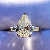 2.25ctw Vintage Pear Diamond Ring with French Cut Diamond Sidestones GIA H SI1 40