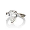 2.25ctw Vintage Pear Diamond Ring with French Cut Diamond Sidestones GIA H SI1 4